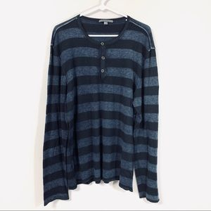 John Varvatos 100% Cashmere Striped Thin Sweater
